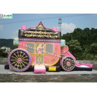 Best Kids Party Princess Carriage Bounce House With Slide , Made Of 1st Class PVC Tarpaulin wholesale