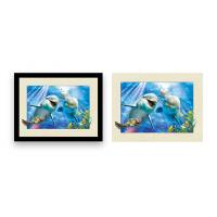 Best Home Decoration 3D Lenticular Printing Service 12x16 Inch Framed Dolphin Picture Wall Arts wholesale