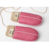 Best Warmest Hand Sewn Baby Sheepskin Mittens With Light Pink Cuff wholesale