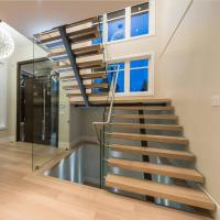 Best Contemporary floating staircase with wood tread invisible stringer straight stairs wholesale