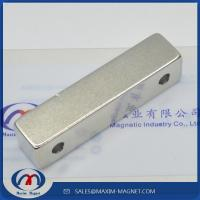 China Large block Neodymium magnets with two countersunk holes on sale