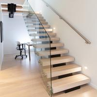 Best Modern Style Indoor Single Stringer Straight Steel Solid Wood Staircase wholesale