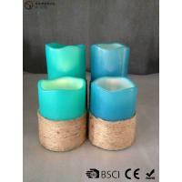 Best Multi Colored Led Pillar Candles With Hemp Rope Home Decoration wholesale