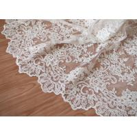 Best Retro Embroidery Ivory Bridal Lace Fabric / Stretch Tulle Fabric For Wedding Dresses wholesale