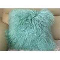 Best Mint Green Real Mongolian Fur Pillow 16 Inch Square With Zipper Closure wholesale