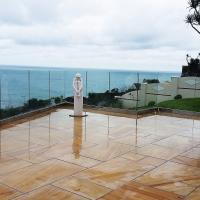 Cheap Exterior Frameless Glass Deck Railing with Aluminum U Channel Profile / U Channel Glass Balustrade for sale