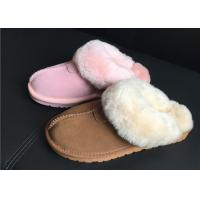 Buy cheap 100% Sheepskin Slippers Ladies Shoes Chestnut EVA Soft Sole Suede Leather from wholesalers