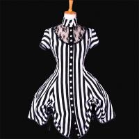 Best Medieval Dress Wholesale XXS to XXXL Custom Made Black and White Stripe Ball Gown Medieval Victorian Dress wholesale