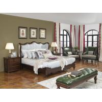 Best American Western design style Villa Bedroom furniture Fabric Headboard Screen Wood Bed with Leather Bench and  Armchair wholesale