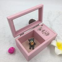 Best Romantic Lovely Wooden Musical Jewellery Box , Pink Wooden Jewelry Box With Lock And Key wholesale