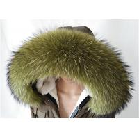 Best Raccoon fur collar Large Long Detachable Real Fur Collar for Winter 80 cm Green wholesale