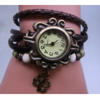 Belt Watch Leather Watch Wrapped Bracelet with Clover Pendant
