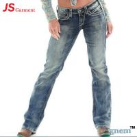 Best Low Waist Washed Printed Jeans For Womens Elastic Straight Dark Blue Jeans Womens wholesale