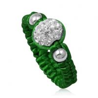 Best Handmade Beaded Jewelry Olivine Crystal Shamballa Rings With Green Cord, White Disco Bead wholesale
