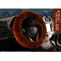 Cheap Warm Comfortable Sheepskin Steering Wheel Cover 3 Spoke Anti Slip For Safety Driving for sale