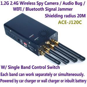 Best 1.2G 2.4G Wireless Spy Camera Audio Bug WIFI Bluetooth Signal Jammer Blocker Single Switch wholesale