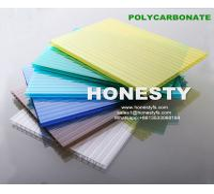 Best fire retardant hollow plastic sheet 4mm 6mm 8mm 10mm hollow polycarbonate sheet Foshan Honesty polycarbonate sheet wholesale