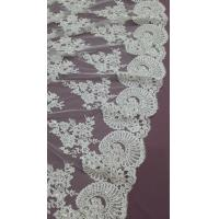 Best 140cm Sequin Beaded Ivory Lace Fabric , White Embroidered Bridal Wedding Lace wholesale