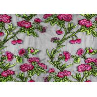 Best Coloured Embroidery 3D Flower Polyester Lace Fabric By The Yard For Party Dress wholesale
