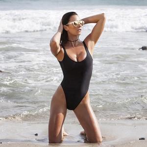 Best Black Retro Womens Swimming Suits High Cut Low Back One Piece Swimwear wholesale