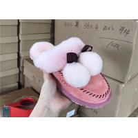 Best Light Pink Soft Sole Sheep Wool Slippers for Bedroom , Womens House Slippers wholesale