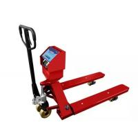China Red Hand Operated Pallet Truck Scales 1.5T 2T 3T Carbon Steel For Food Industry on sale