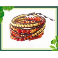 Best 82cm Semi Gemstone Leather Wrap Bracelets / Red Agate Stone Beads Bangle wholesale