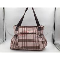 Best Pink PU Grid Pattern Tote Diaper Bags With Shoulder OEM / ODM Acceptable wholesale