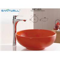 Best Bathroom Furniture Ceramic Art Basin Hand Wash Basin With Orange Color wholesale