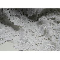 White Water Woluble French Polyester Guipure Lace Fabric With 3D Flower Design