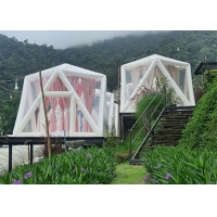 Best Outdoor Portable Luxury Hotel Triangle Transparent PVC Inflatable Polygon Star Lawn Tent Bubble Camping Tent wholesale