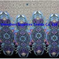 Best 12MM Bamboo Poplin Ethnic style Printed Silk Fabric Border Print Lady's Dress Haute Couture wholesale