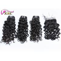 Jerry Curl Cambodian Human Hair Bundles With Lace Closure No Lice Steam Process