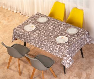 China Waterproof Fabric Flocking Tablecloth 137cm Width Stain Resistant Printed on sale