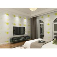 China Japanese Style Durable Asian Inspired Wallpaper With Green Embossed Bloom on sale