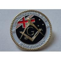 Best 3D Brass Stamping AF & AM Lapel Pin, Rope Edge Soft Enamel Pin with Gold Plating wholesale