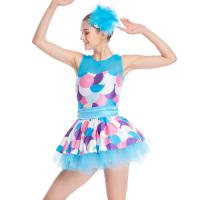 Best Bubble Prints Competition Dance Wear Sleeveless Bodice Knee Length jazz dance competition costumes wholesale