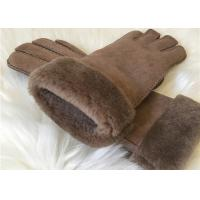 Best Women's Double face Sheepskin Gloves Shearling Hand Gloves with Fur Cuff wholesale