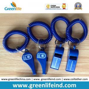 Best Popular Sales Blue Plastic Wristband Coiled Holder w/Blue Custom Logo Imprinted Whistle wholesale