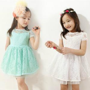 Best Summer kids dresses lace Short sleeve kids Girl Dresses(3-9 year) wholesale