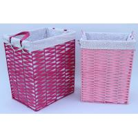 Best Rope woven hamper, paper storage basket, laundry basket with facric lining,pink color wholesale