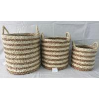 Best storage bin, Rush and maize  hand woven storage basket  with handle, round shape, wholesale