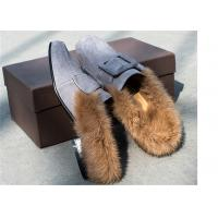 Best Square Moc Toe Comfortable Trendy Shoes Ladies Suede Slippers With Sheep'S Wool Open Back wholesale