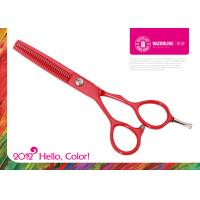China Red Teflon Coating SUS 420J2 Stainless Steel Professional Hairdressing Scissors on sale