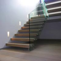 Cheap Frameless Glass Railing Timber Steps Build Floating Staircase for sale