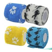 Cheap Colored Medical Supplies Bandages Elastic Cohesive Vet Wrap with Logo Printed for sale
