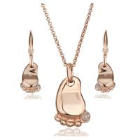 Lovely Baby footprint necklace &earrings 18k gold jewelry sets