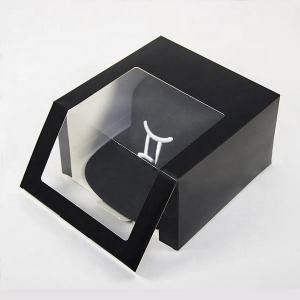 China Fancy Design PVC Window White Card Custom Logo Printed Folding  Cap Hat Gift Paper Packaging Box on sale