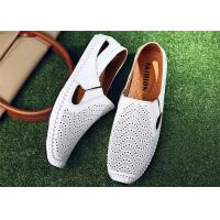 Best Anti Kicking Toe White Loafer Slip On Shoes Cowhide Leather Upper With Punching Holes wholesale