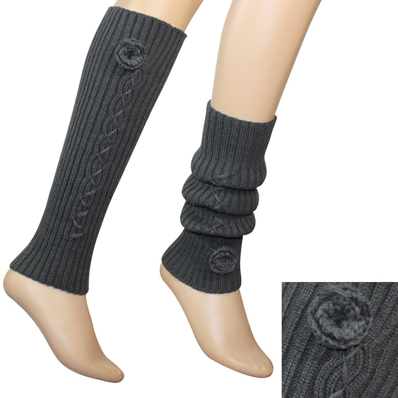 Best 3.5 / 15.75 Inches White / Gray / Black Acrylic Knitted Leg Warmer Pattern For Women wholesale